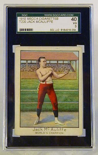 1910 Mecca Cigarettes T220 Jack McAuliffe Boxing Card, SGC 40