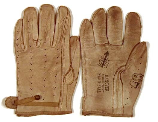 Patented 1907 White Leather Handball Gloves
