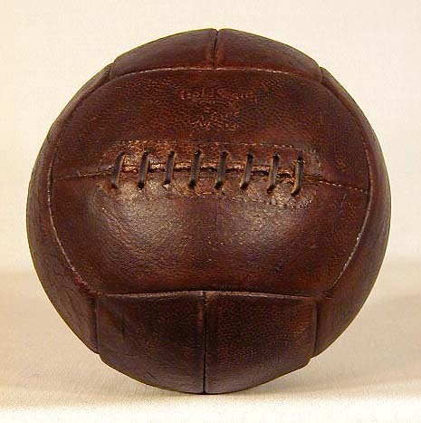 1930's Leather Laced Soccer Ball made by GoldSmith