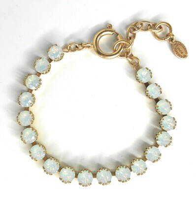 La Vie Parisienne TENNIS BRACELET Gold With White Opal  Swarovski Crysal