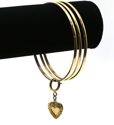 La Vie Parisienne CLASSIC GOLD BANGLES(3) with GOLD HEART CHARM