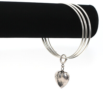 La Vie Parisienne CLASSIC SILVER BANGLES(3) with SILVER PUFFY HEART CHARM