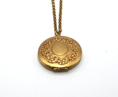 La Vie Parisienne MEDIUM Gold ROUND LOCKET With Flower Etch Border