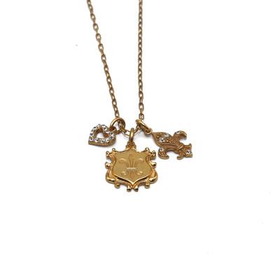 La Vie Parisienne PETITE Gold FLEUR DE LIS AND HEART CHARMS LOCKETS