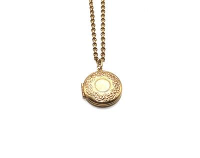 La Vie Parisienne SMALL Gold ROUND LOCKET Flower Etch Border