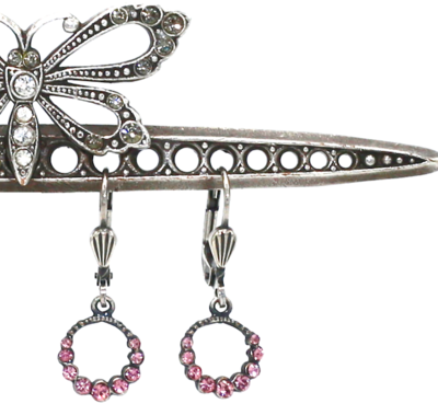 La Vie Parisenne THE CINDY'S Silver With Vintage Pink Swarovski Crystal