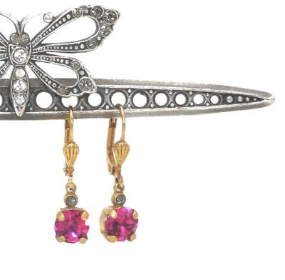 La Vie Parisienne LITTLE JELLY TOTS Gold With  Fuschia Swarovski Crystal