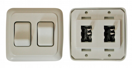 Double Contour On/Off Switch with Base and Plate - White
