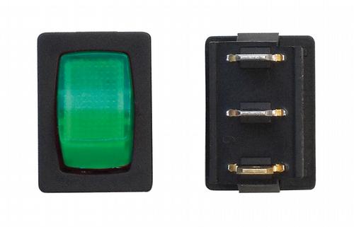 Mini Illuminated On/Off SPST - Black/Green 3/bag
