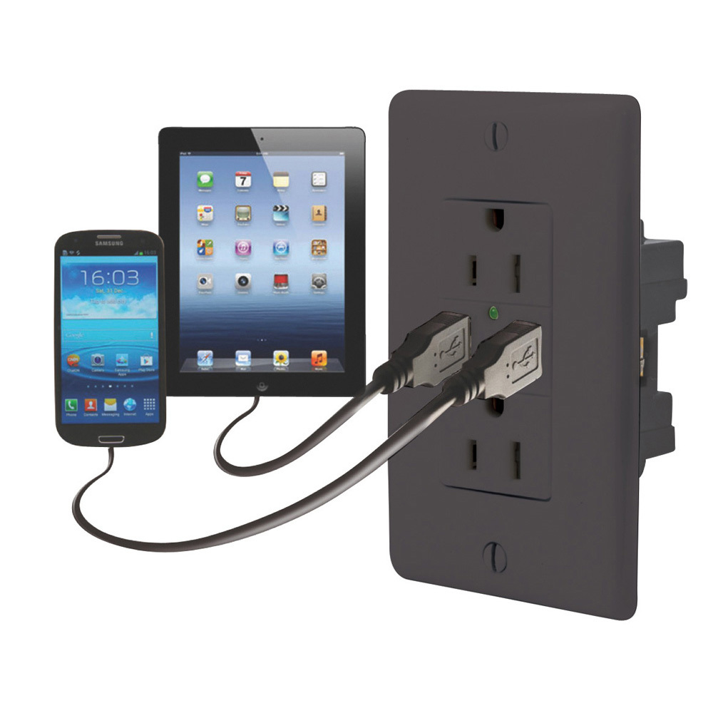 Dual USB Charger with Duplex Receptacle - Black 61072USB