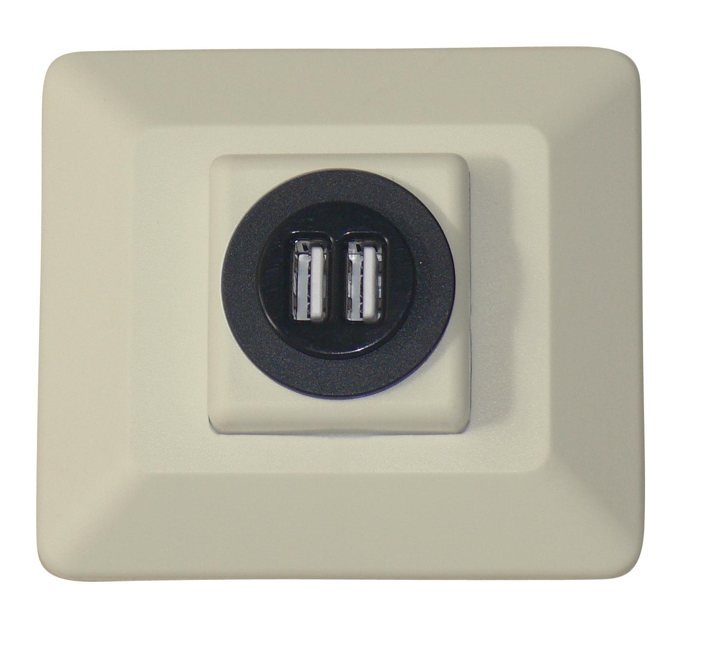 Decor USB Charging Station - Almond 61032USB