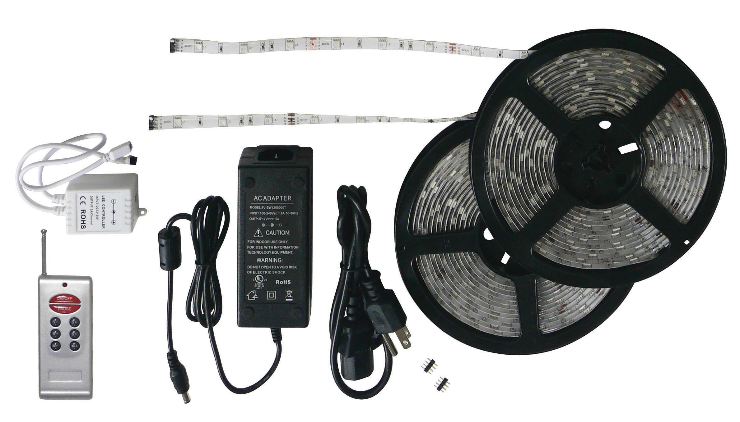 Black-Backed 33' LED Strip Light Kit with RF Remote 52694-RF