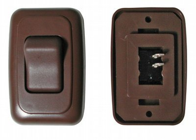 Single Contour On/Off Switch with Base and Plate - Brown