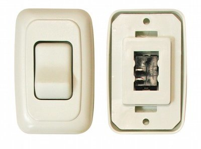 Single Contour On/Off Switch with Base and Plate - White
