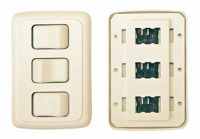Triple Contour On/Off Switch with Base and Plate - White
