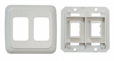 Double Base and Plate Contour Wall Plate Assembly - Biscuit