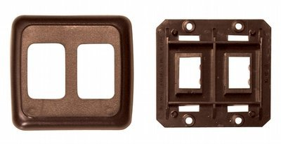 Double Base and Plate Contour Wall Plate Assembly - Brown