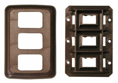 Triple Base and Plate Contour Wall Plate Assembly - Brown