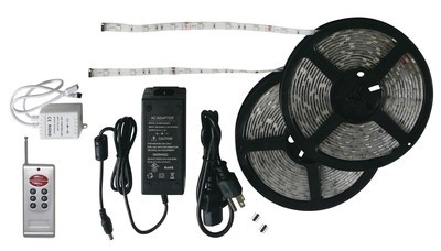 Black-Backed 33' LED Strip Light Kit with RF Remote