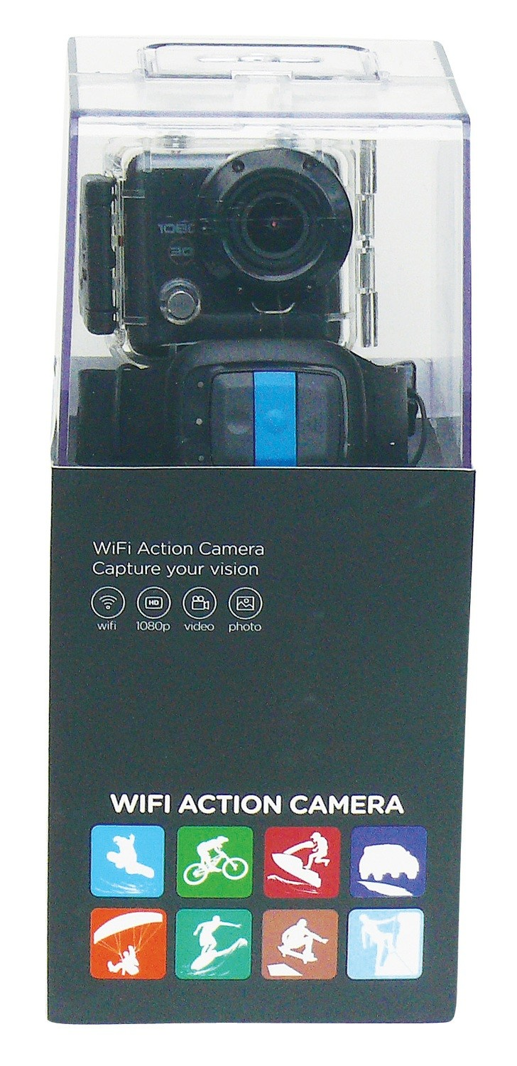 Portable Action Camera with Watch Controller - Black Body