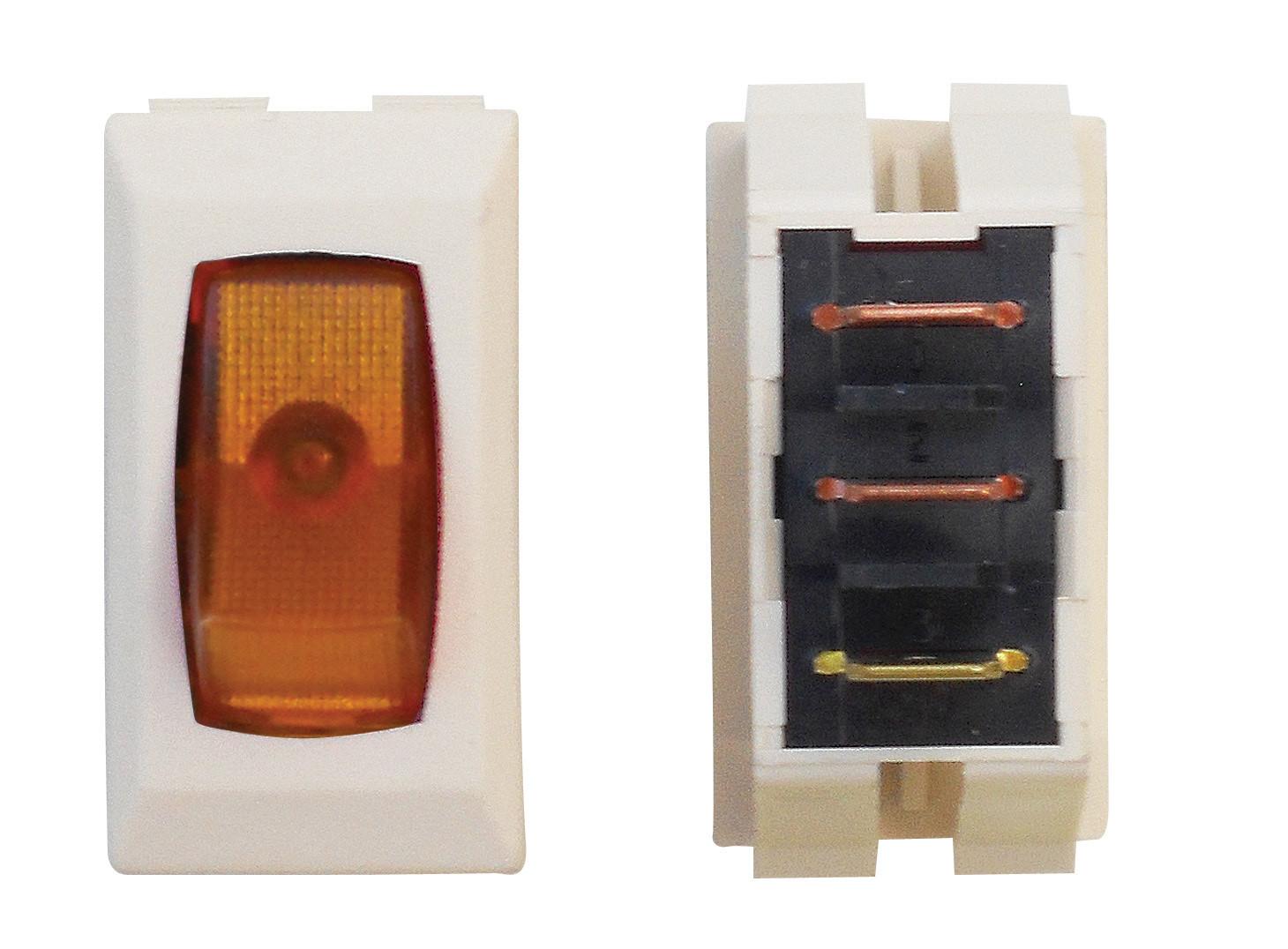 Illuminated On/Off Switch - Amber/Ivory 3/bag