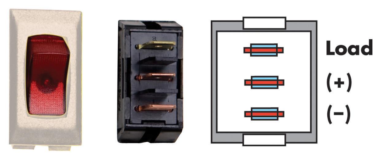 Illuminated On/Off Switch - Red/Ivory 3/bag