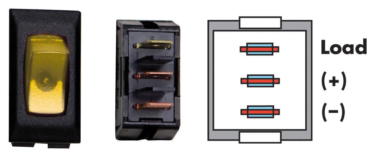 Illuminated On/Off Switch - Amber/Black 3/bag