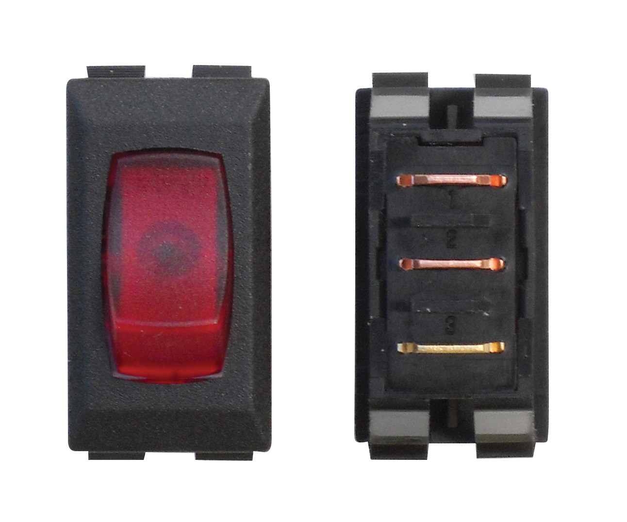 Illuminated On/Off 110V Switch - Red/Black 3/bag