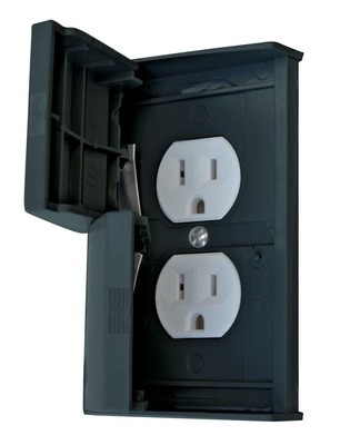 Weatherproof Standard Cover with Receptacle - Black