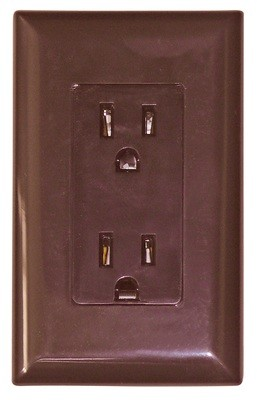 15 Amp Decor Receptacle With Cover - Brown