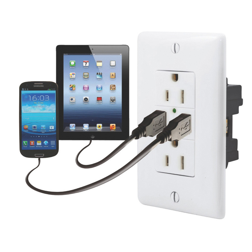Dual USB Charger with Duplex Receptacle - White