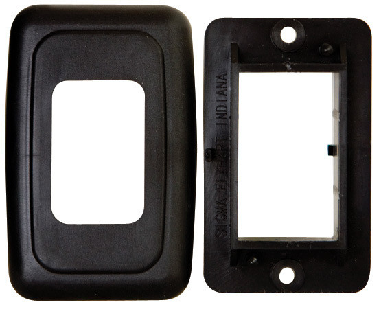 Single Base and Plate Contour Wall Plate Assembly - Black