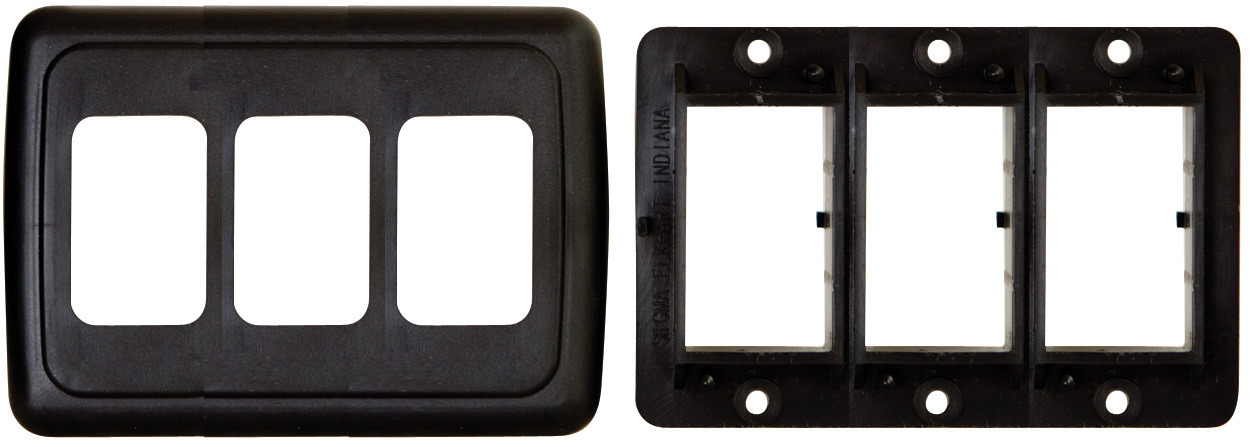 Triple Base and Plate Contour Wall Plate Assembly - Black