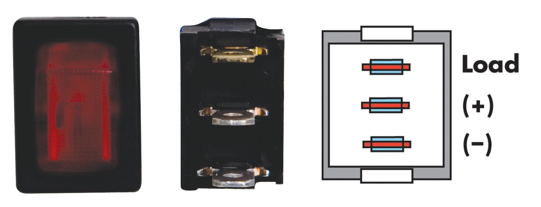 Mini Illuminated On/Off SPST - Black/Red 1/card