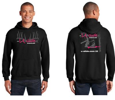 Mens Hooded Black Sweat Shirt Neon Pink Logo