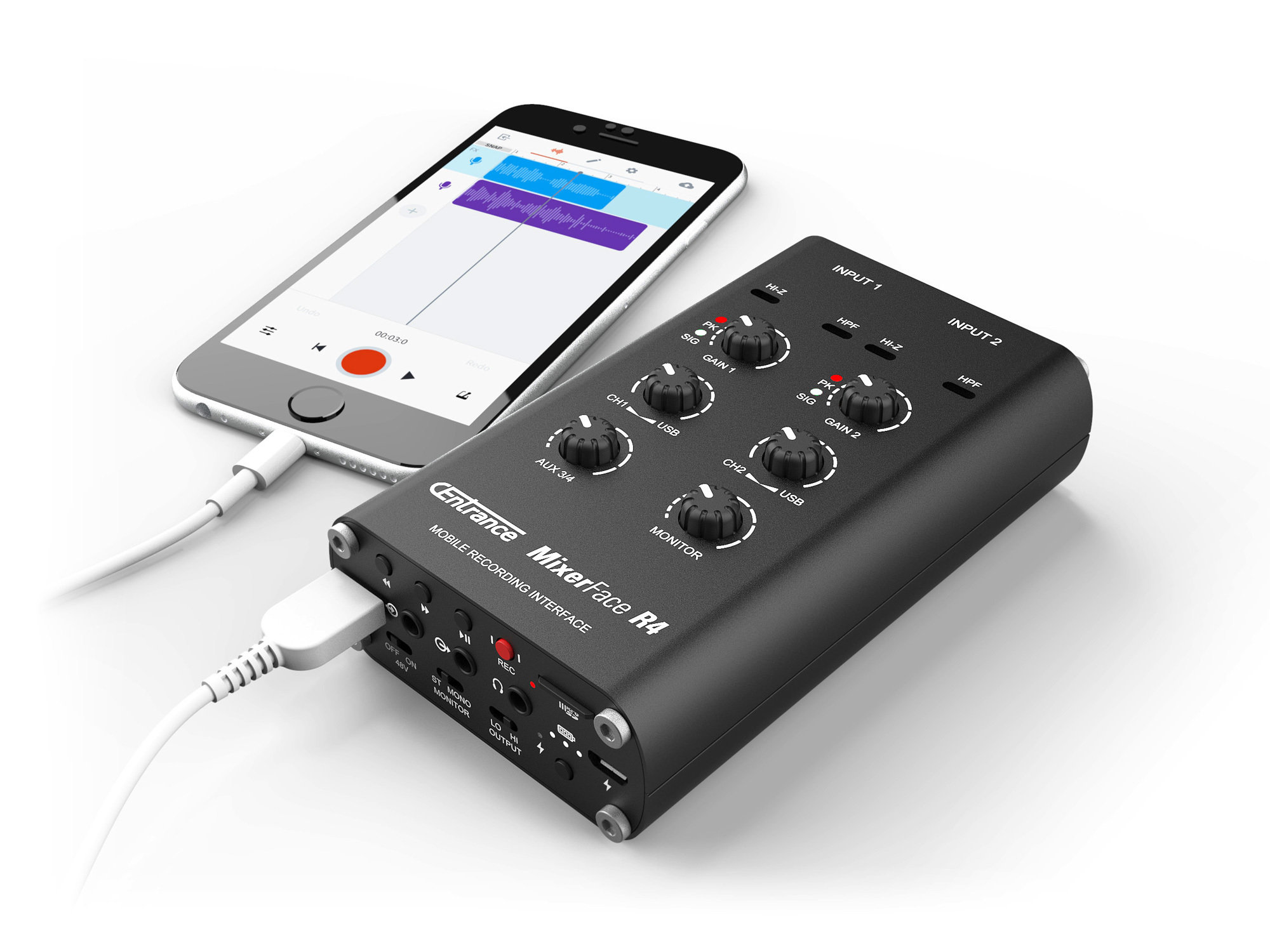 MixerFace R4R recording to iPhone