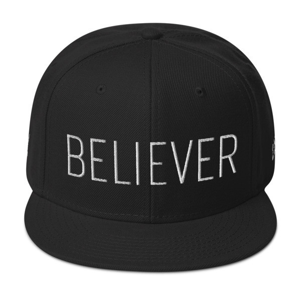 """Believer"" Wool Snapback Hat - Front & Back - Right and Left Embroidery Locations"