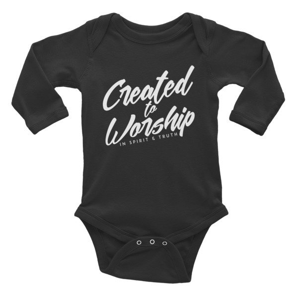 """Created to Worship"" Infant Long Sleeve Bodysuit - Black"