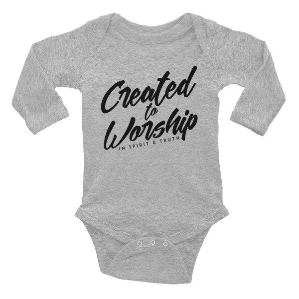 """Created to Worship"" Infant Long Sleeve Bodysuit - White"