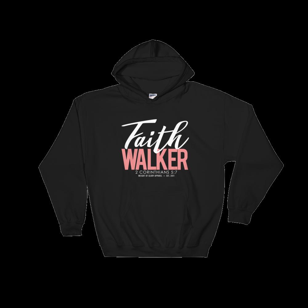 """Faith Walker"" Hooded Sweatshirt - White & Salmon Pink"