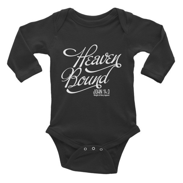 """Heaven Bound"" Infant Long Sleeve Bodysuit - Black"