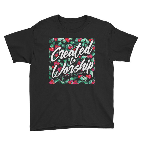 """""""Created to Worship"""" - Floral Print Youth"""