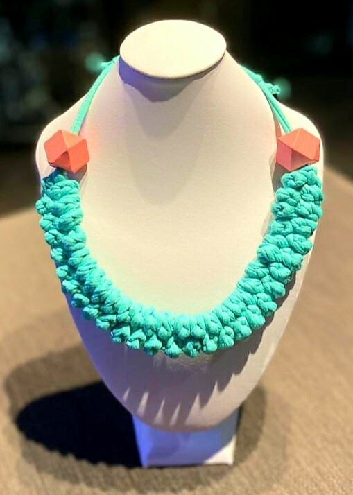 Tiffany Blue Handmade Yarn Necklace