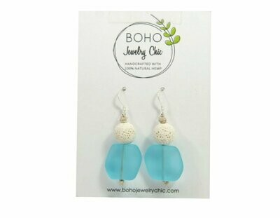 <strong>Blue Sea Glass Earrings</strong><br>Essential Oil Jewelry