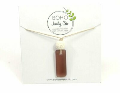 <strong>Brown Sea Glass Necklace</strong><br>Essential Oil Jewelry