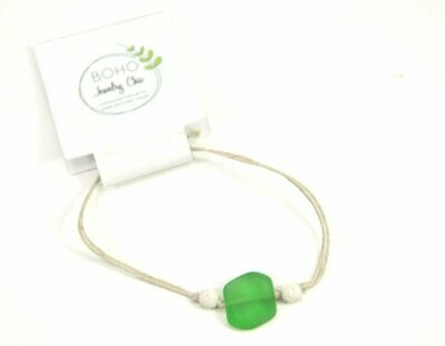 <strong>Green Sea Glass Bracelet</strong><br>Essential Oil Jewelry