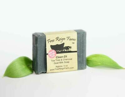 <strong>Clean Zit </strong><br>Tea Tree & Charcoal <br>Goat Milk Soap