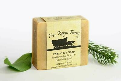 <strong>Poison Ivy Soap  </strong><br>Jewelweed, Pine Tar, & Tea Tree  <br>Goat Milk Soap