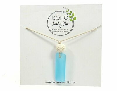 <strong>Blue Sea Glass Necklace</strong><br>Essential Oil Jewelry