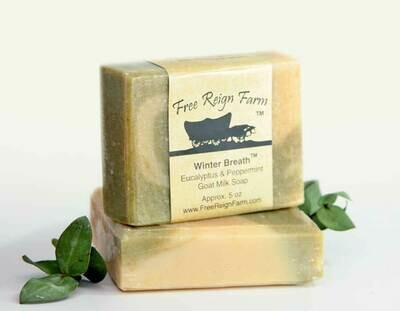 <strong>Winter Breath  </strong><br> Eucalyptus & Peppermint  <br> Goat Milk Soap